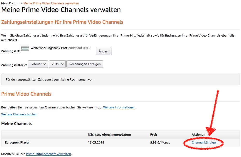 """Den Eurosport Player Amazon Channel könnt Ihr ganz einfach kündigen, wenn Ihr in der Amazon Channels Verwaltung rechts unten auf """"Channel kündigen"""" klickt."""