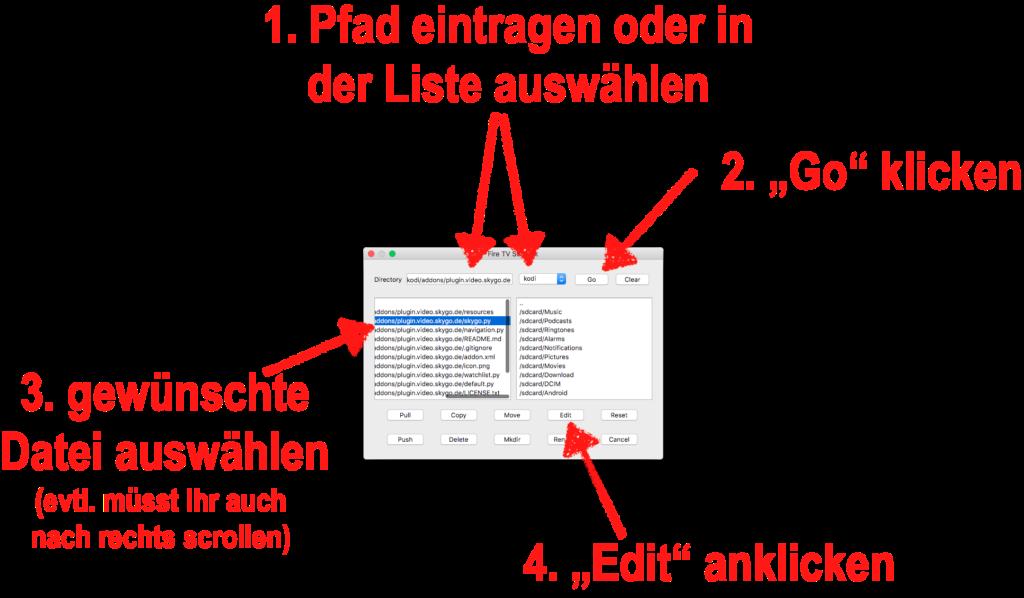 """In adbLink müsst Ihr dann im linken Teil des Fensters die gewünschte Datei auswählen und anschließend unten auf """"Edit"""" klicken."""