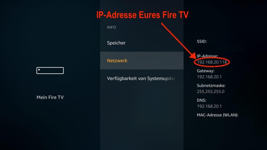 Notiert Euch die in den Einstellungen des Fire TV gefundene IP-Adresse - diese benötigen wir gleich.