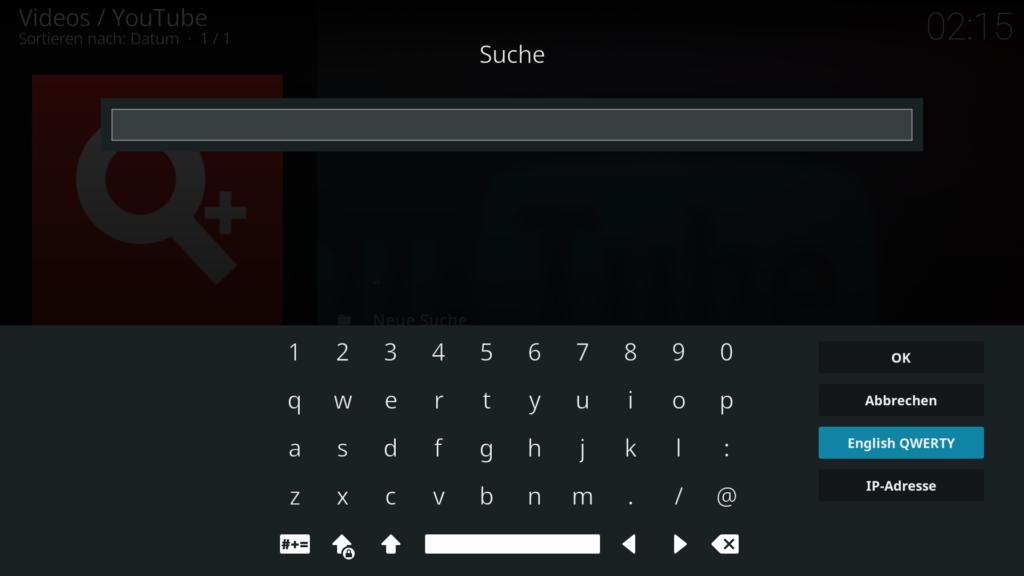 """Und bei """"English QWERTY"""" ordnet Kodi die Zeichen wie auf einer englischen Tastatur an."""