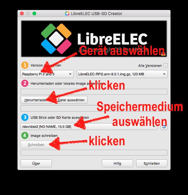 Der SD-Karten-Generator von LibreELEC arbeitet sehr gut und ist einfach zu bedienen. Einfach Nach und nach die Punkte 1-4 durchgehen.