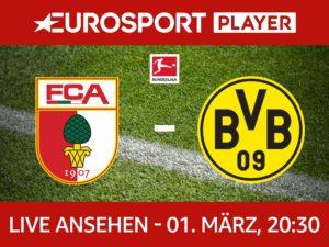 FC Augsburg gegen Borussia Dortmund heute Abend im Eurosport Player schauen - und 5 weitere Spiele in den nächsten Wochen. Insgesamt für 6€.