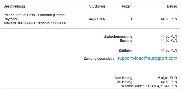 In der Eurosport Player Bestellbestätigung wird korrekterweise das Jahresabo Poland Annual Pass - Standard angezeigt