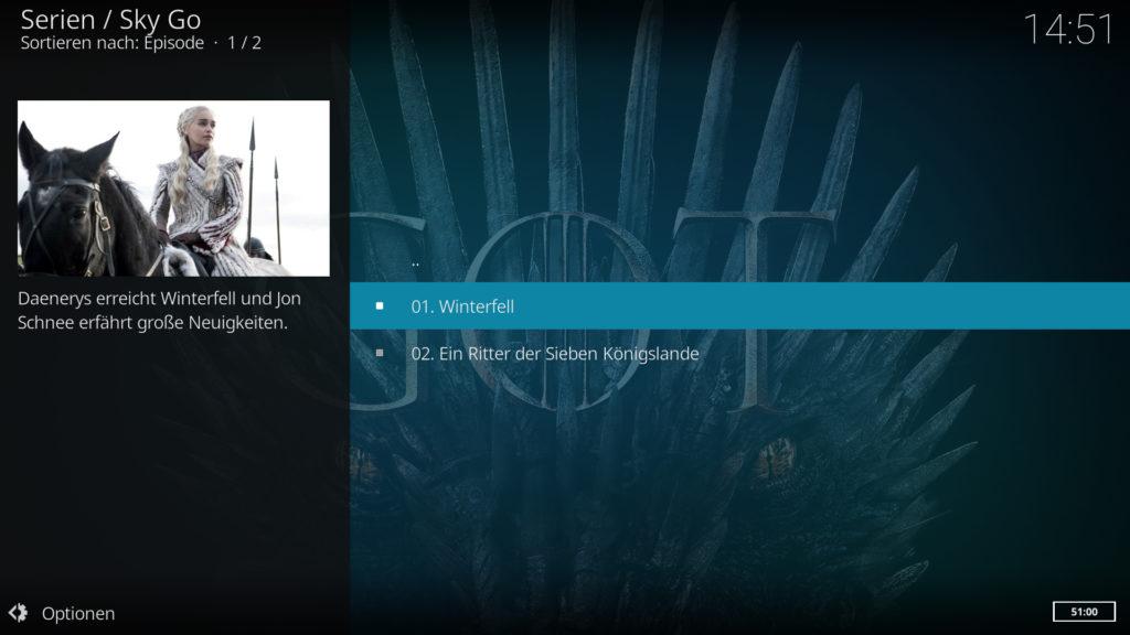 Das SkyGo Addon funktioniert in Kodi 18.2 bei uns auch wunderbar - Game of Thromes kann kommen.