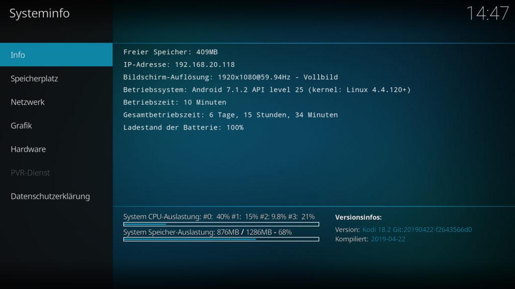 Kodi 18.2 auf einem Fire TV Stick 4k - läuft 1A.