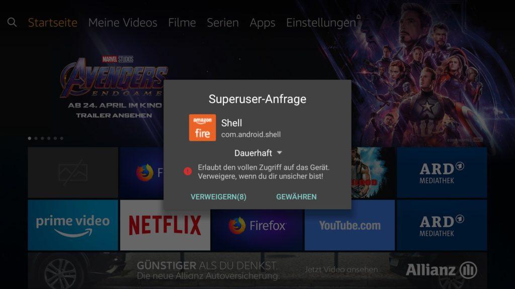 """Damit Ihr Befehle als Root-Nutzer ausführen könnt, müsst Ihr diese erst auf dem Fire TV freigeben - einfach auf """"Gewähren"""" klicken. das muss sehr schnell gehen. Ihr habt nicht mal 10 Sekunden dafür."""