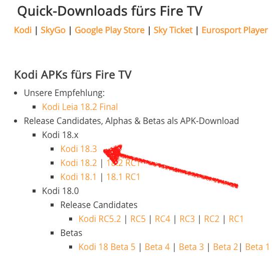 Kodi 18.3 einfach von unserer Download-Seite herunterladen - das geht auch direkt vom Fire TV oder Android-Gerät aus