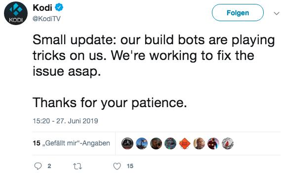 Die Probleme beim Erzeugen der APK- und weiteren Installationsdateien bei Kodi 18.3 sind mittlerweile behoben.