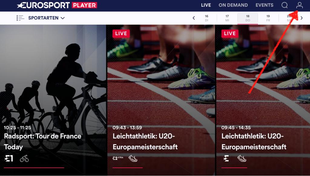 Bei der PC-Version müsst Ihr oben rechts auf das kleine Männchen klicken, um in Eure Eurosport Player Kontoverwaltung zu gelangen