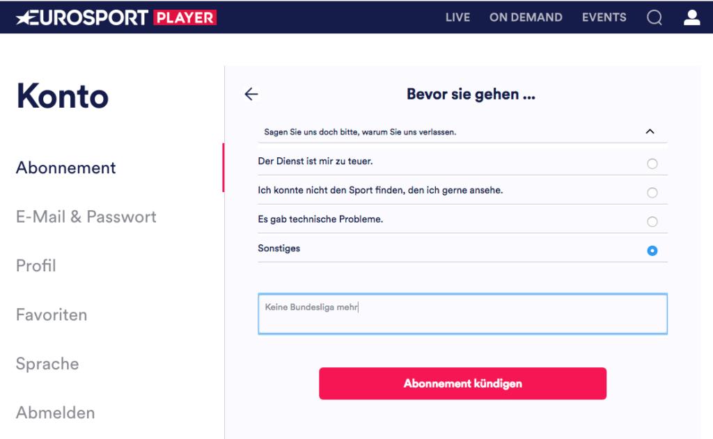 Bevor Ihr wirklich kündigen könnt, müsst Ihr Eurosport erst noch eine kleine Frage beantworten, warum Ihr den Player kündigen wollt