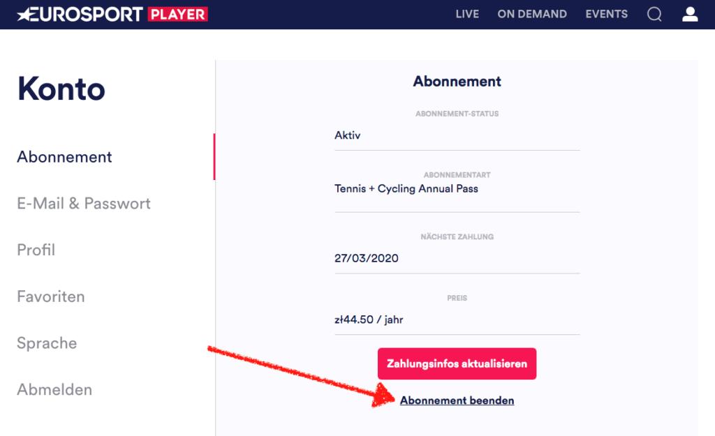 Damit Ihr das Eurosport Player Abo kündigen könnt, müsst Ihr ganz unten auf Abonnement beenden klicken