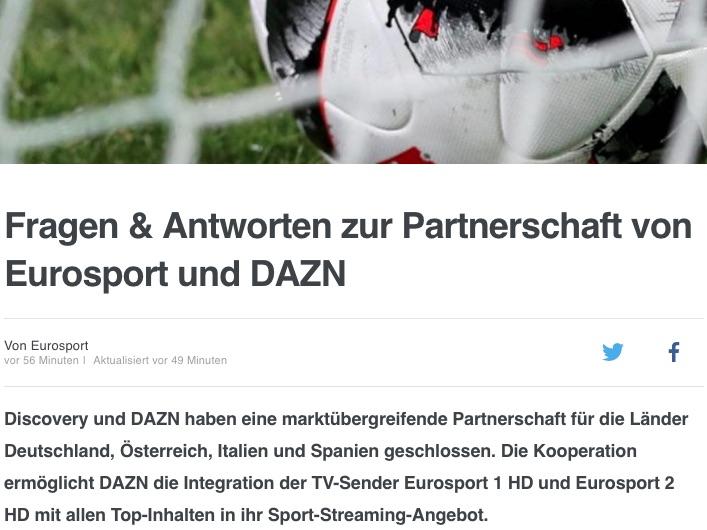 Eurosport hat seine Bundesliga-Live-Rechte an DAZN verkauft - und überträgt keine einzige Bundesliga-Live-Partie mehr