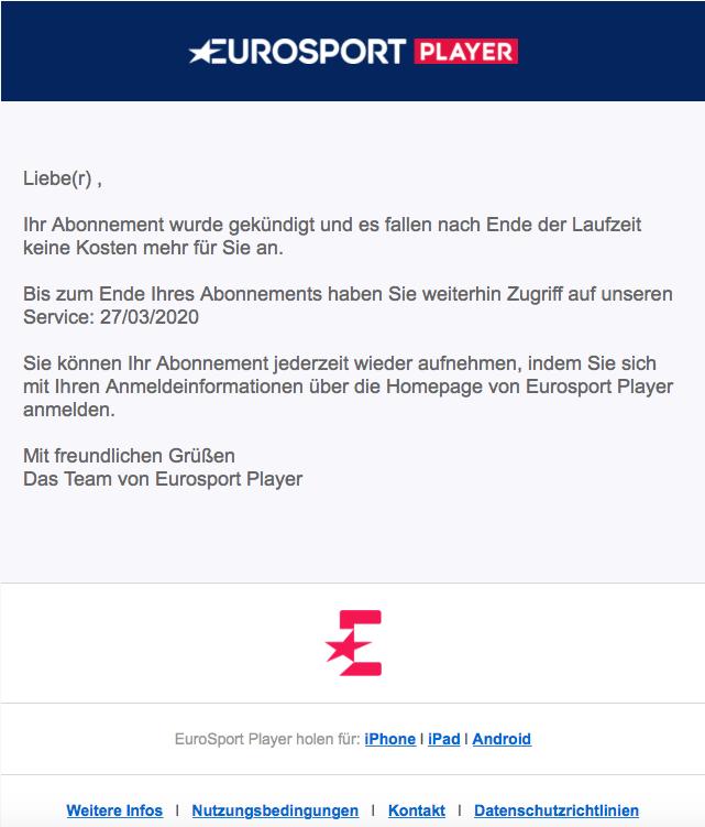 So sah die Bestätigungsmail der Eurosport Player Kündigung bei uns aus