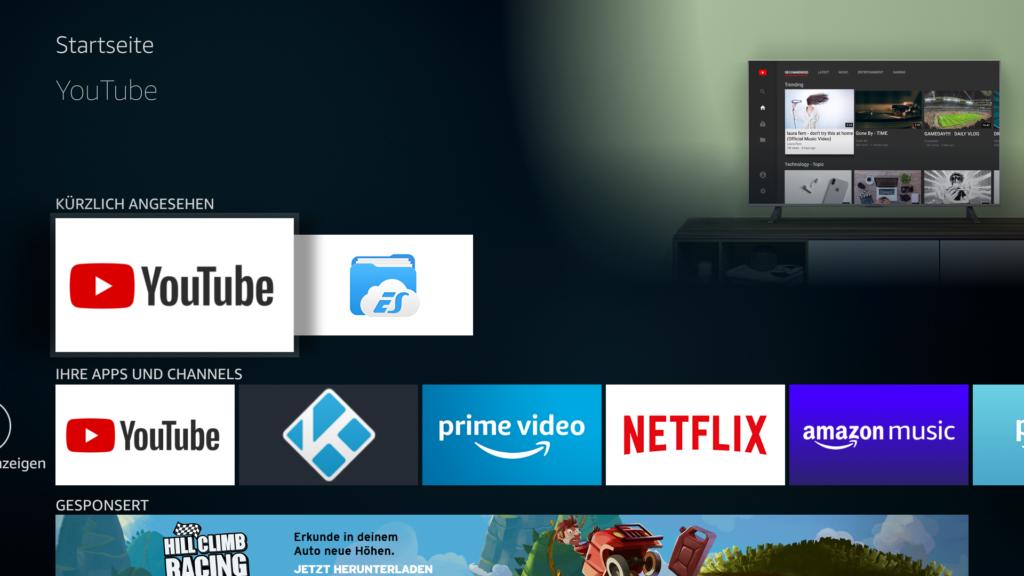 Nach der Installation erscheint die YouTube App automatisch auf eurem Fire TV Startbildschirm.