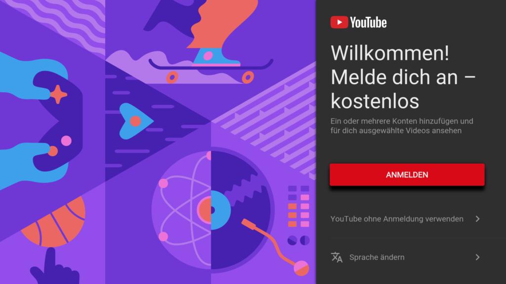 Beim ersten Start könnt ihr euch direkt in YouTube einloggen