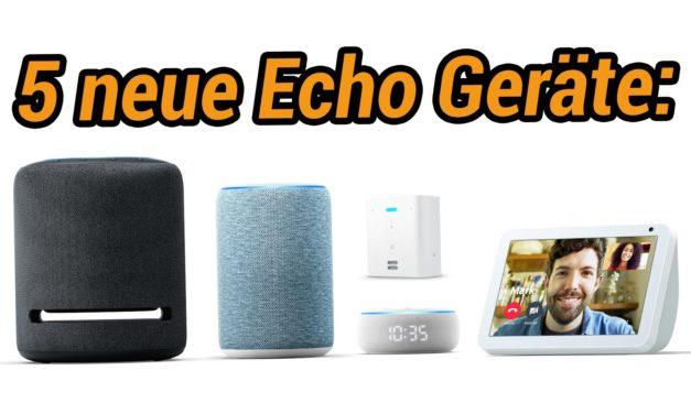 Gleich 5 neue amazon Echo Geräte: Neuer Echo, Echo Show 8, Echo Flex, Echo Dot mit Uhr und Echo Studio