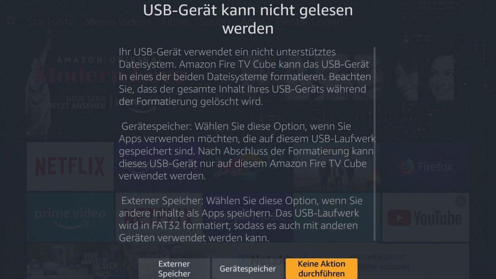 Ihr könnt den USb Speicher als Gerätespeicher oder Externer Speicher formatieren