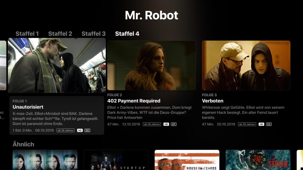 Die Darstellung einer Serien-Staffel ist ähnlich wie bei anderen Diensten