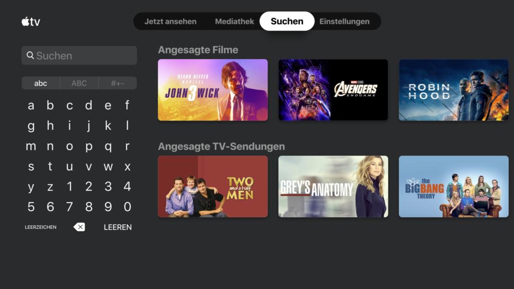 Im Suchen Tab der Apple TV App auf dem Fire TV kann man in allen Inhalten suchen