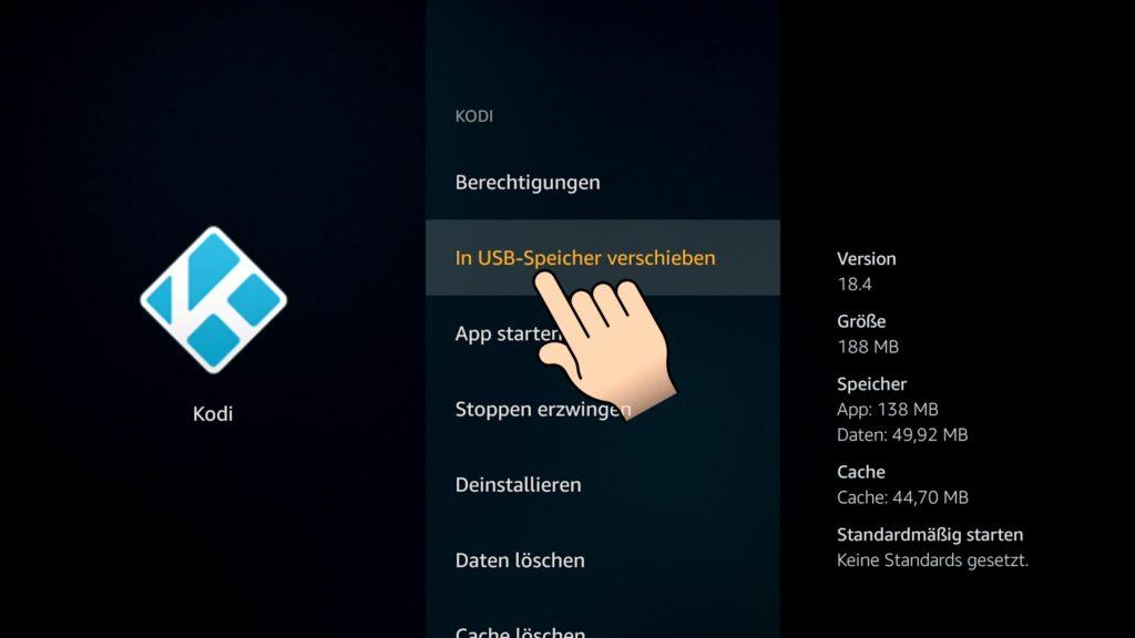 Apps können einfach auf den USB Speicher verschoben werden