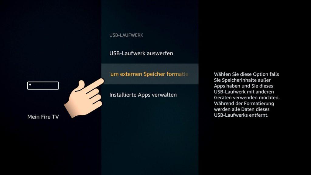 USB Speicher als externen Speicher formatieren