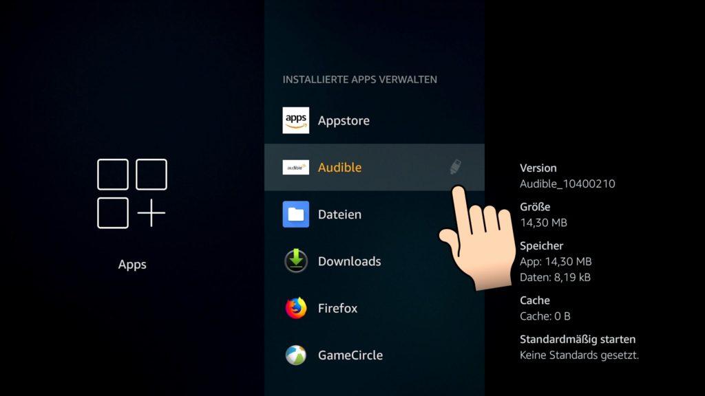 Ein USB Symbol hinter der App zeigt an dass diese auf dem USB Medium ausgelagert wurde