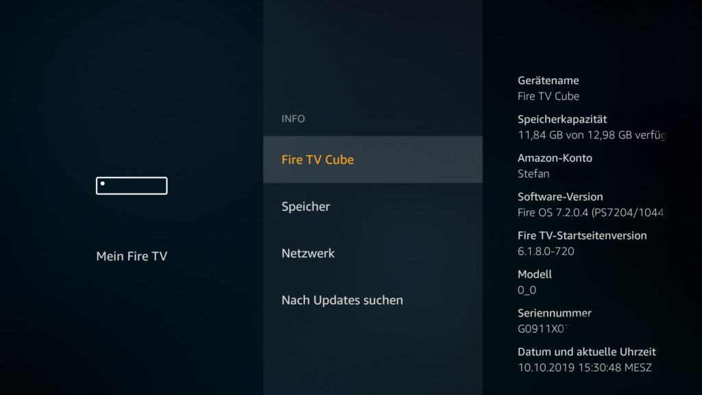 Fire TV Cube System Info - das neue FireOS7 hat beim Launch die Versionsnummer 7.2.0.4