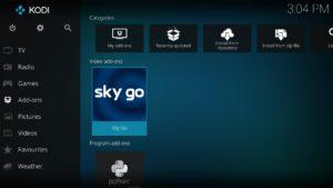 Mit der Optionen Taste auf das SkyGo Add-on klicken