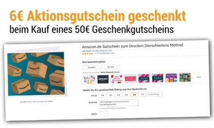 6€ Amazon Aktionsgutschein bei Kauf eines 50€ Geschenkgutscheins
