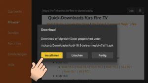 Mit einem Klick auf Installieren wird die App installiert