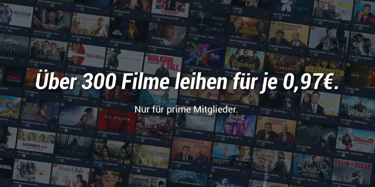 Heute Filme für 0,97€ auf amazon prime Video leihen