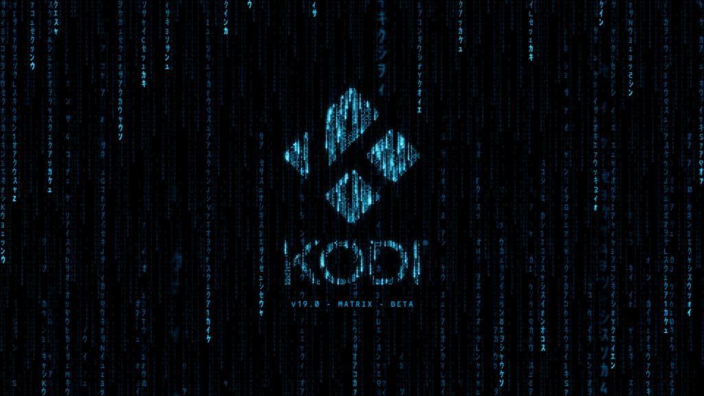 Der neue Startbildschirm von Kodi 19 - stark von seinem Codenamen Matrix inspiriert