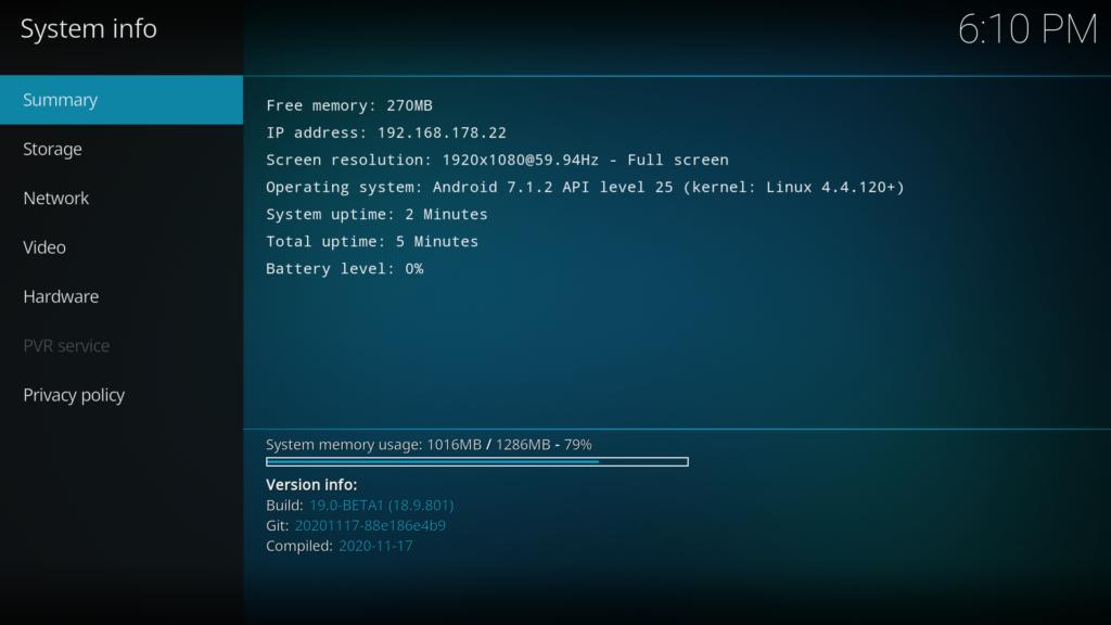 Kodi 19.0 beta 1 auf dem Fire TV - läuft